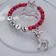 Traditional Reindeer Personalised Wine Glass Charm - Full Bead Style